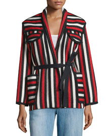 Breeda Striped Tie-Waist Blanket Coat