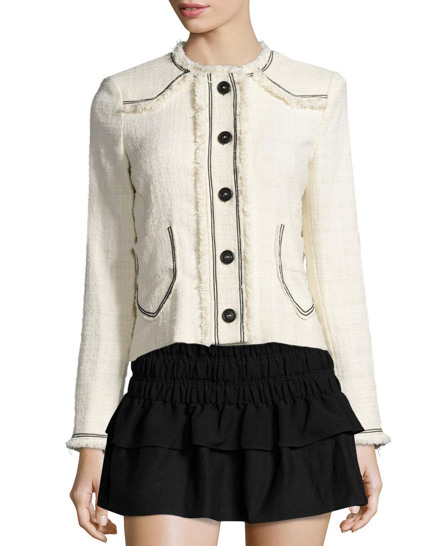 Isabel Marant Etoile Ferris Fringed Linen Button Jacket, Women's, Size: 44, Black