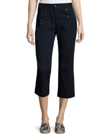Macey Three-Button Cropped Pants, Midnight