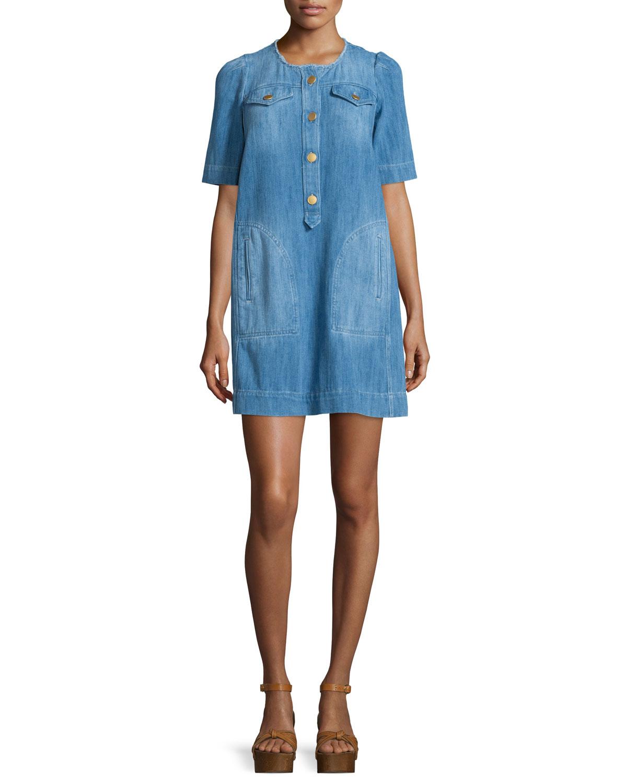 Isabel Marant Etoile Oriane Half-Sleeve Denim Dress, Blue, Women's, Size: 44