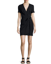 Kansas Tie-Waist Wrap Dress, Black