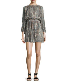 Sharla Paisley-Print Silk Blouson Dress