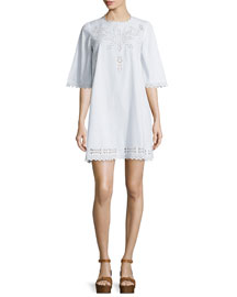 Domino Laser-Cut Poplin Dress, White