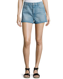 Peter Cuffed Denim Shorts, Blue