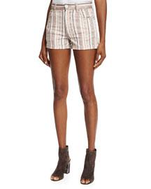 Naomi Printed Stretch-Cotton Shorts, Ecru/Rust