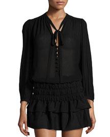 Kiandra Long-Sleeve Tie-Neck Blouse