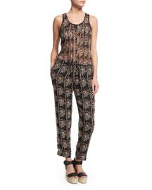 Salina Printed Silk Chiffon Jumpsuit, Black