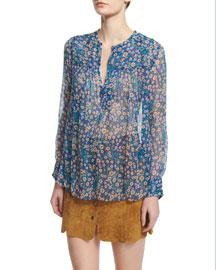 Serim Printed Chiffon Blouse, Electric Blue
