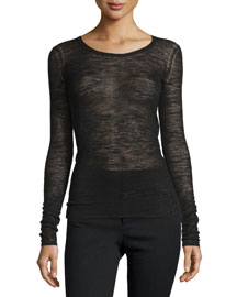Debra Long-Sleeve Heathered Top
