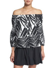 Off-the-Shoulder Poplin Top, Black