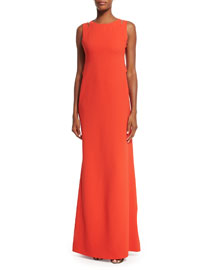 Matte Stretch-Cady Cutout Gown, Red