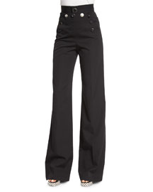 Wool Sailor-Front Button Pants, Black