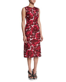 Hibiscus-Print Sleeveless Dress, Burgundy