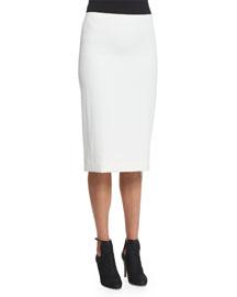 Stretch-Gabardine Pencil Skirt, White