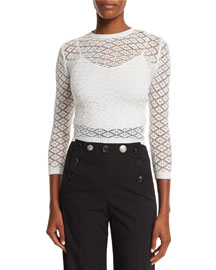 Knit Lace 3/4-Sleeve Sweater, White