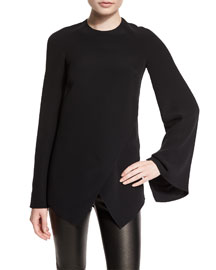 Mulberry Silk Cady Long-Sleeve Top, Black