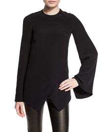 Mulberry Silk Cady Long-Sleeve Top, Black