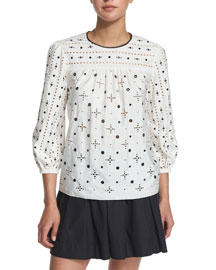 Grommet-Studded Eyelet 3/4-Sleeve Top, White
