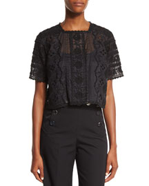 Embroidered Short-Sleeve Cotton Blouse, Black