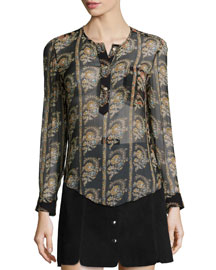 Soris Paisley-Print Silk Chiffon Blouse