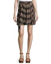 Sistle Printed Silk Tie-Waist Mini Skirt, Black