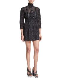 Beaded Lace Victorian Mock-Neck Dress, Black