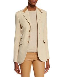 Cavalry Stretch-Twill Four-Button Jacket, Sand