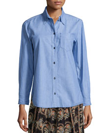 William Chambray Button-Down Top