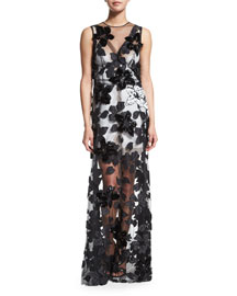Sleeveless Floral-Sequined Silk Tulle Gown, Black