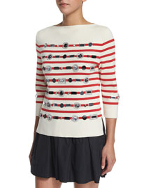 Striped 3/4-Sleeve Sweater w/ Jewel Embellishments, Red