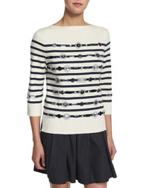 Striped 3/4-Sleeve Sweater w/ Jewel Embellishments, Navy