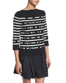 Striped 3/4-Sleeve Sweater w/ Jewel Embellishments, Black