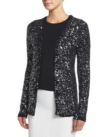 Allover-Sequined Cardigan Sweater, Black