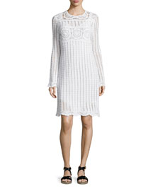 Harriet Crocheted Long-Sleeve Dress, White