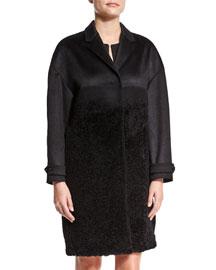 Cashmere/Fur Long Coat, Black
