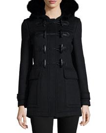 Fitted Wool Coat w/Fur Hood, Black