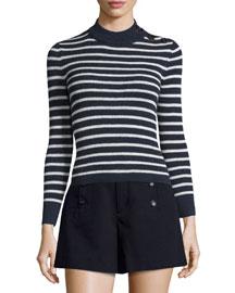 Erwan Striped Mock-Neck Sweater, Midnight/Ecru