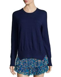 Kerstin Knit Crewneck Sweater, Midnight