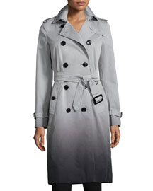Degrade Double-Breasted Trench Coat, Gray
