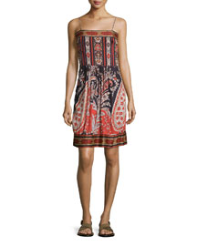 Trani Mixed-Print Spaghetti-Strap Dress, Black