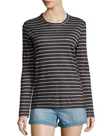 Karon Long-Sleeve Dublin Striped Tee, Black