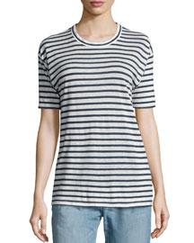 Ken Striped Short-Sleeve Tee, White/Blue