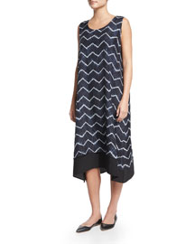 Sleeveless Chevron Silk A-Line Dress, Dark Indigo