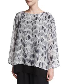 Double-Layer Zigzag Shibori Silk Top, Gray/Silver