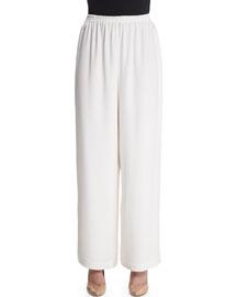 Wide-Leg Silk Crepe Trousers, White