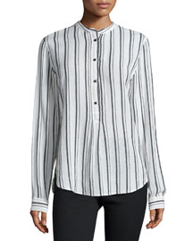 Skinny-Striped Henley Blouse, White/Black