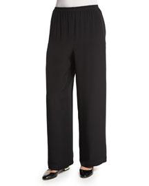 Wide-Leg Silk Crepe Trousers, Black