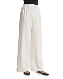 Flat-Front Wide-Leg Silk/Cashmere Trousers, White