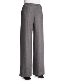 Flat-Front Wide-Leg Silk/Cashmere Trousers, Gray Silver