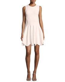 Sleeveless Floral-Embossed Dress, Light Pink